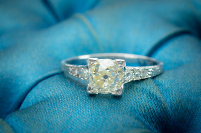 1.22CTW VINTAGE DIAMOND SOLITAIRE WITH ANTIQUE MINE CUT DIAMOND - SinCityFinds Jewelry