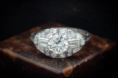 1.75CTW ART DECO PLATINUM AND DIAMOND RING - SinCityFinds Jewelry