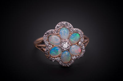 ANTIQUE OPAL AND OLD CUT DIAMOND CLUSTER RING - SinCityFinds Jewelry