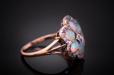 ANTIQUE OPAL AND OLD CUT DIAMOND CLUSTER RING