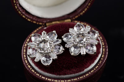 SALE! ROSE CUT AND BAGUETTE DIAMOND CLUSTER EARRINGS