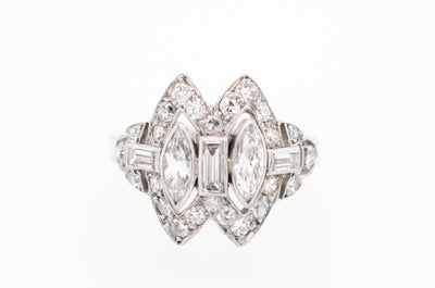 art deco marquise diamond ring