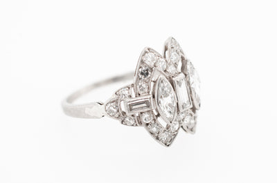 ART DECO MARQUISE AND BAGUETTE CUT DIAMOND RING
