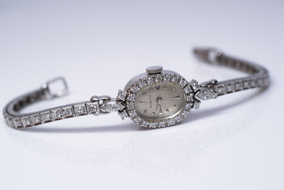 0.95CTW VINTAGE TIFFANY 1960's PLATINUM WATCH - SinCityFinds Jewelry