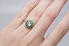 FRENCH CUT EMERALD AND ROSE CUT DIAMOND TARGET RING
