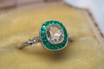 FRENCH CUT EMERALD AND ROSE CUT DIAMOND TARGET RING - SinCityFinds Jewelry