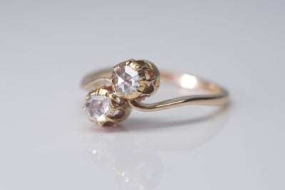 ANTIQUE TOI ET MOI ROSE CUT DIAMOND RING