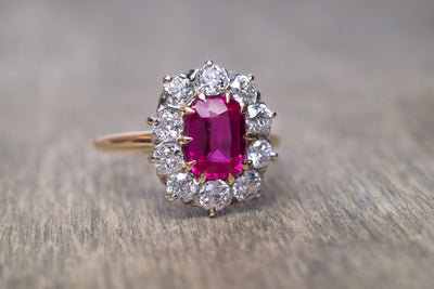 VINTAGE OLD EUROPEAN CUT DIAMOND HALO RING WITH SYNTHETIC  SAPPHIRE - SinCityFinds Jewelry
