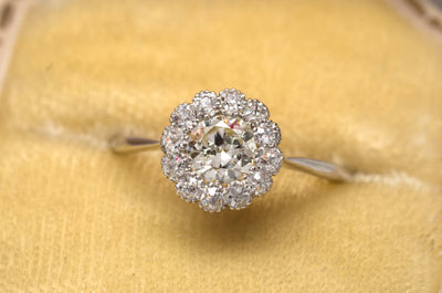 VINTAGE LIGHT YELLOW DIAMOND HALO ENGAGEMENT DAISY RING