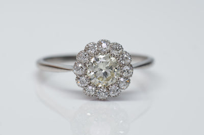 VINTAGE LIGHT YELLOW DIAMOND HALO ENGAGEMENT DAISY RING - SinCityFinds Jewelry