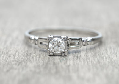 TRAUB SOLITAIRE OLD EUROPEAN CUT DIAMOND RING