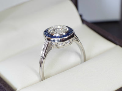 SAPPHIRE AND OLD MINE CUT DIAMOND TARGET RING - SinCityFinds Jewelry