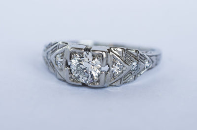 ART DECO DIAMOND RING WITH OLD EUROPEAN CUT - SinCityFinds Jewelry