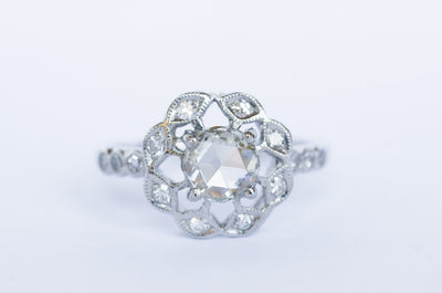VINTAGE ROSE CUT DIAMOND RING IN PLATINUM - SinCityFinds Jewelry