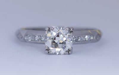 ART DECO PLATINUM OLD EUROPEAN CUT DIAMOND SOLITAIRE WITH ACCENTS - SinCityFinds Jewelry
