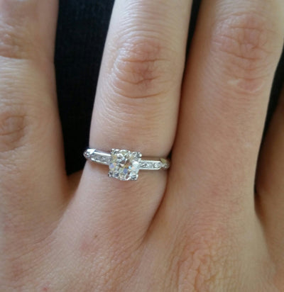 ART DECO PLATINUM OLD EUROPEAN CUT DIAMOND SOLITAIRE WITH ACCENTS