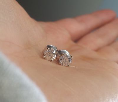 1CTW OLD CUT DIAMOND EARRINGS STUDS