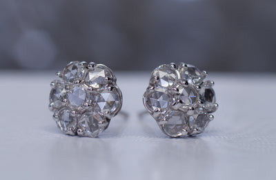 ROSE CUT CLUSTER DIAMOND EARRING STUDS