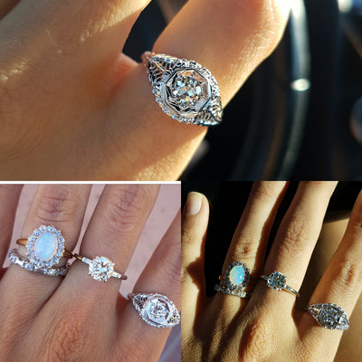 VINTAGE OLD EUROPEAN CUT DIAMOND RING IN WHITE GOLD - SinCityFinds Jewelry