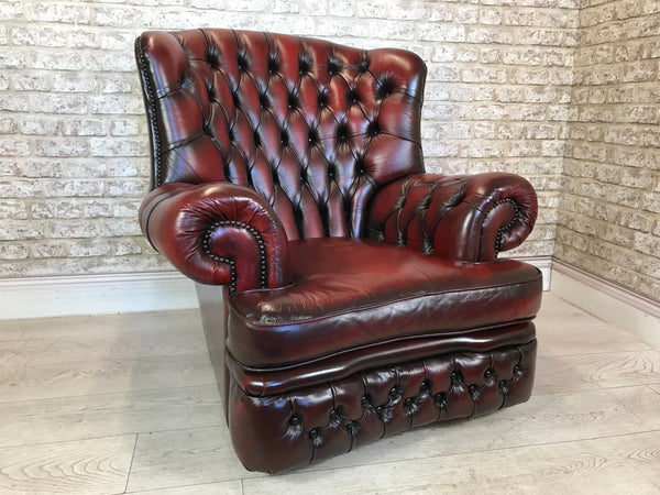 Oxblood Leather Chesterfield Spoon Monks Armchair
