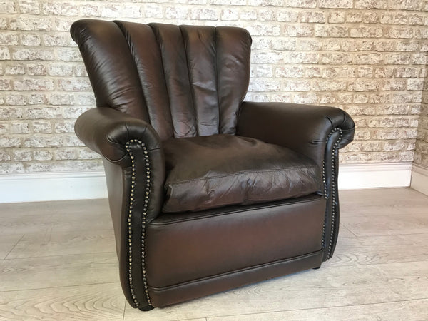 Antique Brown Leather Occasional Lounge Chair