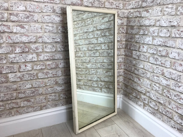 Aged Wooden Framed Wall Hanging Mirror