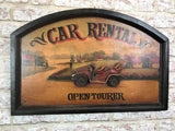 Hand Finished Wooden Car Rental Wall Plaque Sign