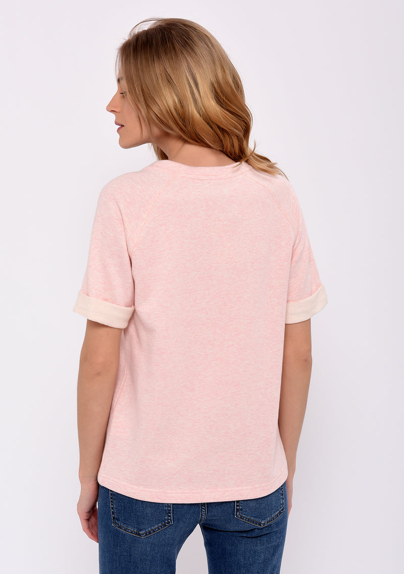 Sweat manches courtes imprimé rose SHOPPING