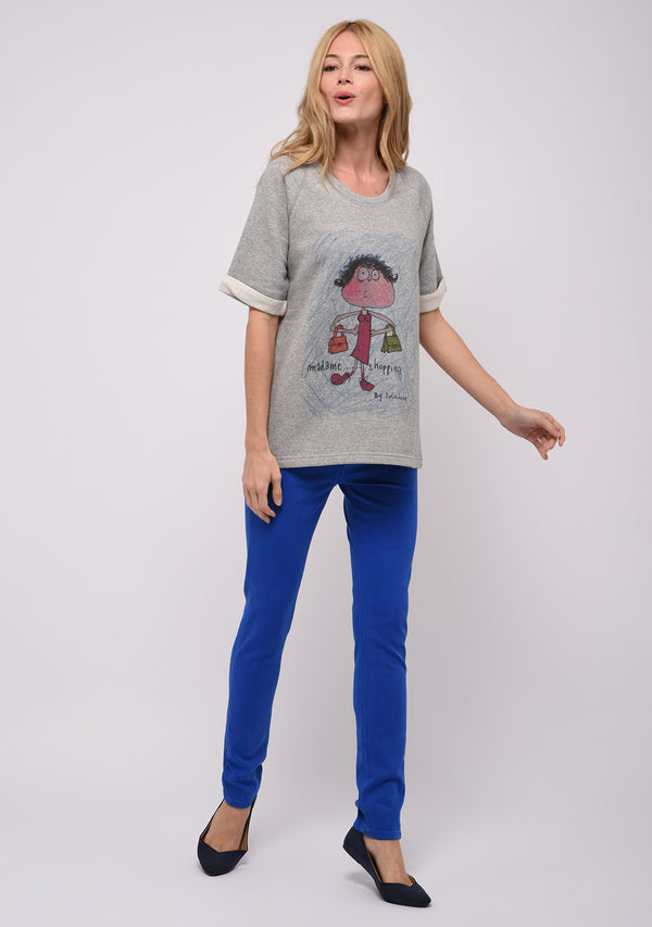 Sweat manches courtes imprimé gris SHOPPING