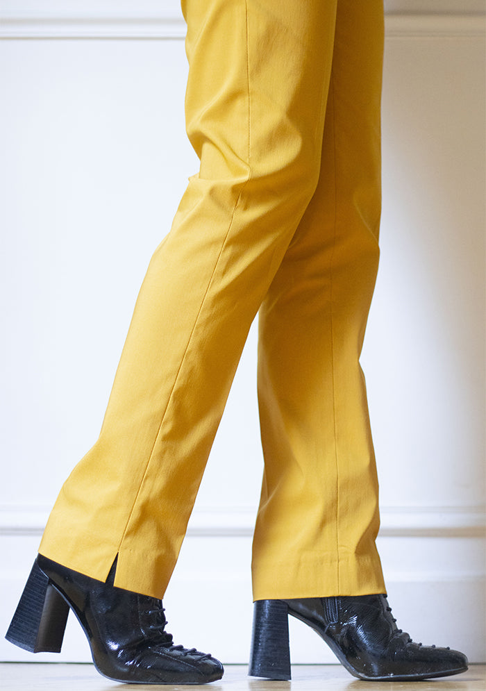 Pantalon stretch coupe droite uni GOLD