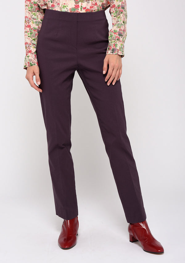 Pantalon stretch coupe droite uni PRUNE