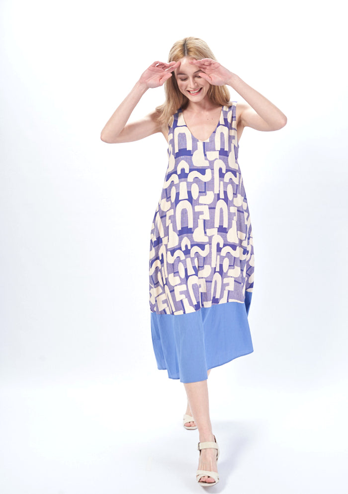 Robe Longue Sans Manches En Coton Imprime Mirage Made In Sens