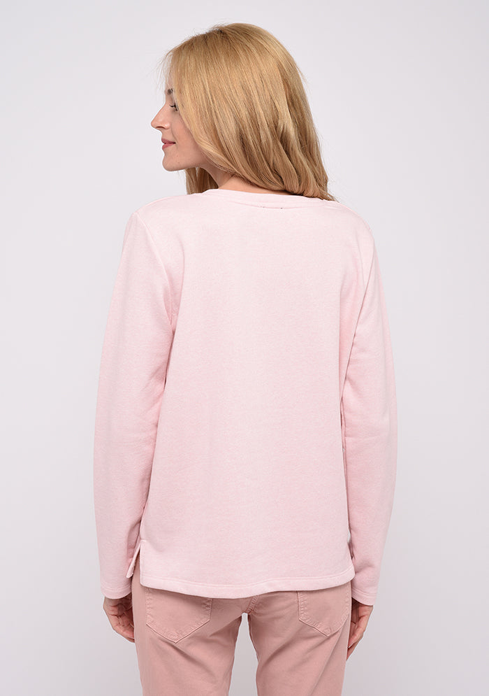 Sweat en coton imprimé COURAGE rose