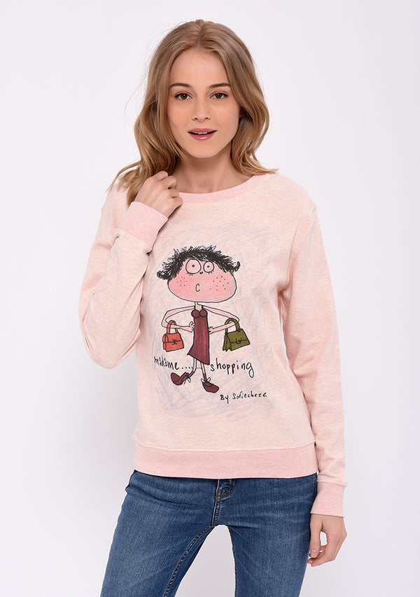 Sweat manches longues imprimé rose SHOPPING