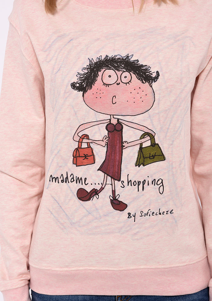 Sweat manches longues col rond imprimé rose Madame Shopping