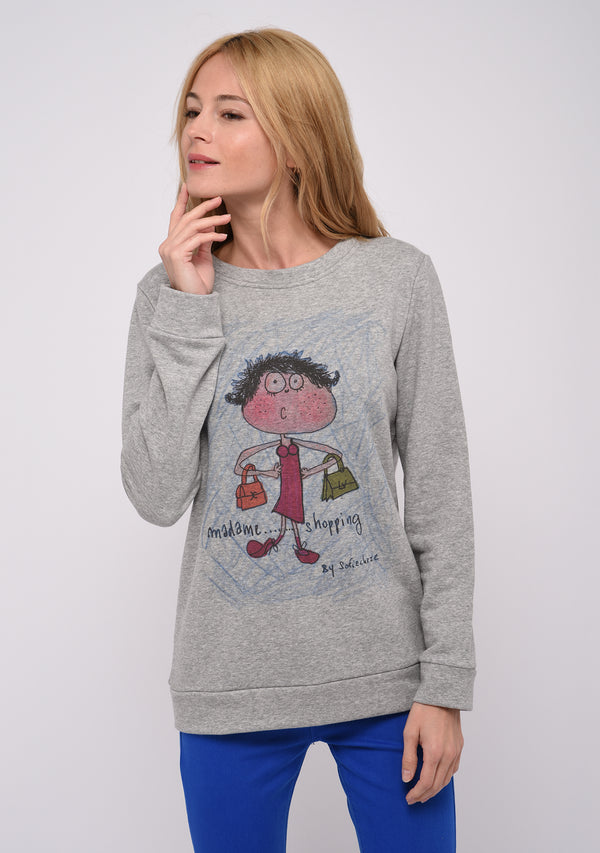Sweat manches longues imprimé gris SHOPPING