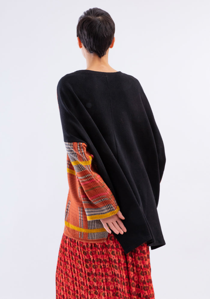 Pull oversize carreau rouille