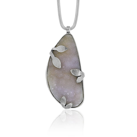 Spring pendant with druzy chalcedony - READY TO WEAR