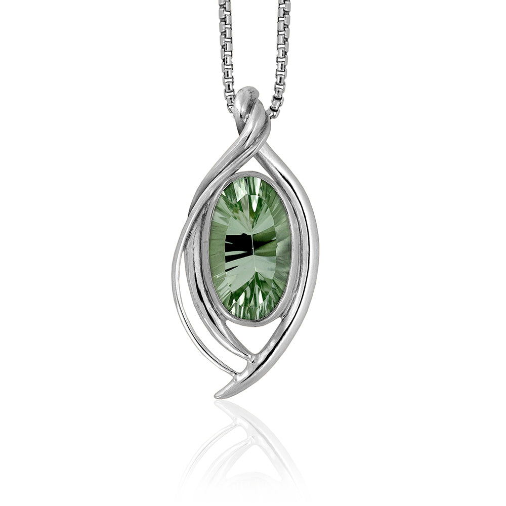 Entwine statement pendant in sterling silver and green quartz - ready to wear
