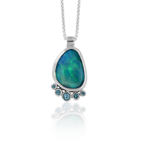 Halo cluster pendant in sterling silver, opal and blue topaz - ready to wear