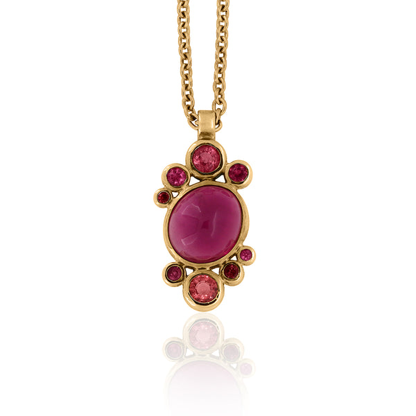 Halo cluster pendant in yellow gold, tourmaline and spinel
