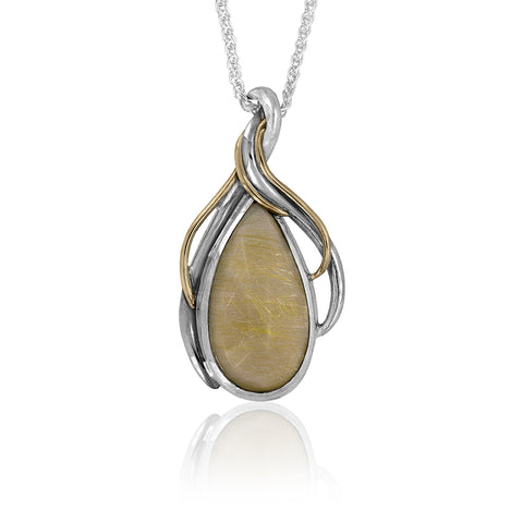 Entwine statement pendant in sterling silver, yellow gold and rutilated quartz - ready to wear