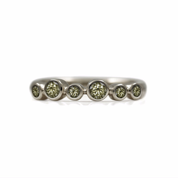 Halo eternity diamond ring - 18ct white gold and champagne diamond