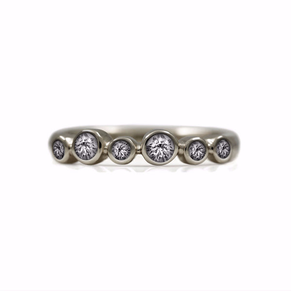 Halo eternity diamond ring - 18ct white gold and diamond