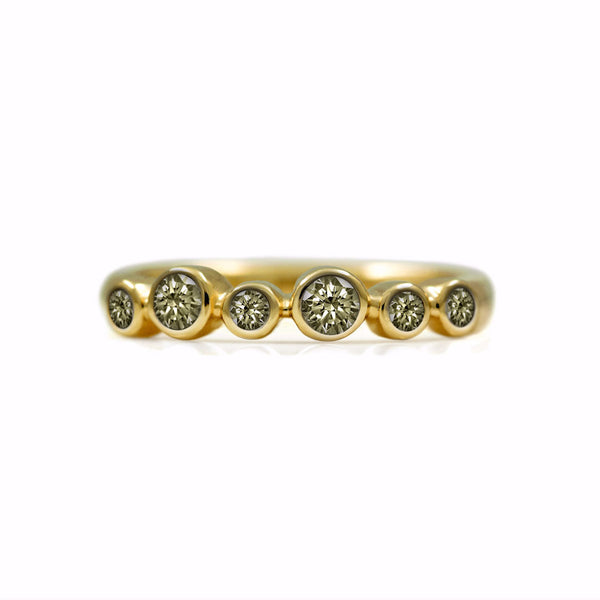 Halo eternity diamond ring - 18ct yellow gold and champagne diamond