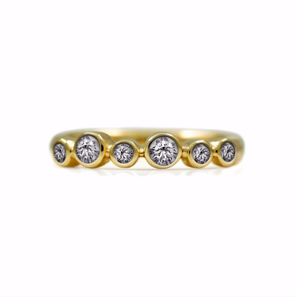 Halo eternity diamond ring - 18ct yellow gold and diamond