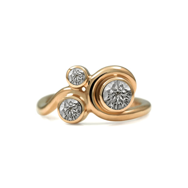 Entwine three stone engagement ring - 18ct rose gold and diamond