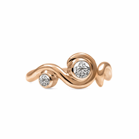 Entwine two stone diamond ring in 9ct gold and 18ct gold