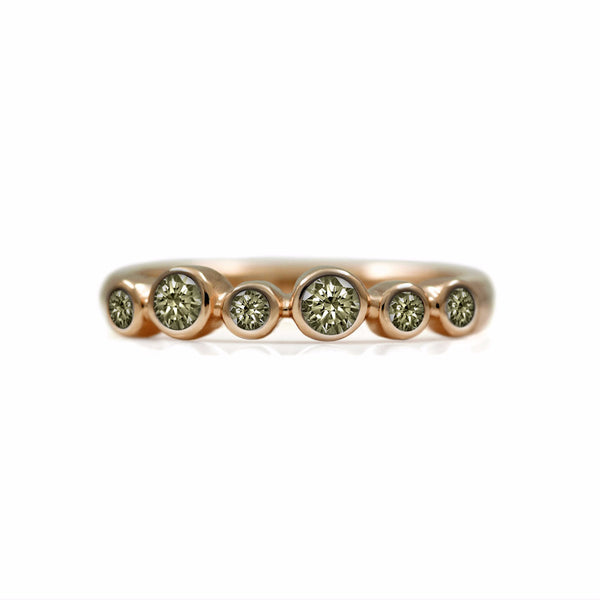 Halo eternity diamond ring - 9ct rose gold and champagne diamond