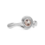 Entwine solitaire engagement ring - silver and morganite
